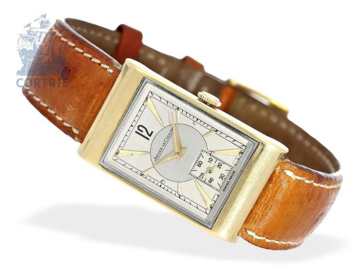 Wristwatch: very rare Art Deco gentlemen's watch by Jaeger Le Coultre, gold/stainless steel, ca. 1940 (NO LIVE FEE)