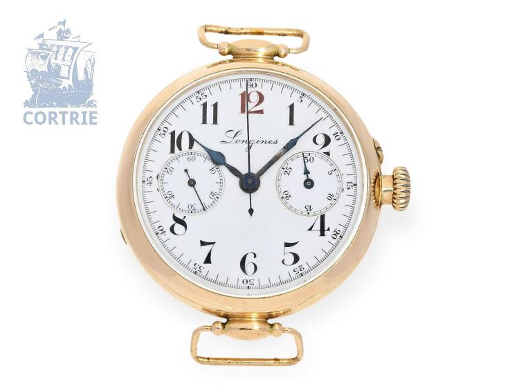 Rarity: one of the earliest noted Longines wristwatch chronographs Chronographe-Compteur', pink gold, Switzerland ca. 1920 (NO LIVE FEE)