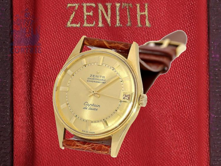 Wristwatch: popular automatic chronometer by Zenith, 'Captain de Luxe' , from the 60s, 18 K gold with original box (NO LIVE FEE)