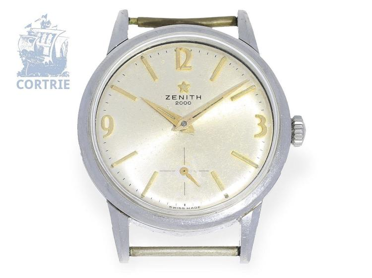 Wristwatch: extremely rare Zenith chronometer, 'ZENITH 2000 CHRONOMETER', caliber 135, from the 60s (NO LIVE FEE)