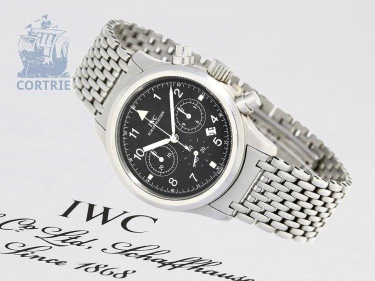 Wristwatch: IWC pilot's chronograph ref.3741, rare stainless steel bracelet edition, all certificates, original box, original label (NO LIVE FEE)