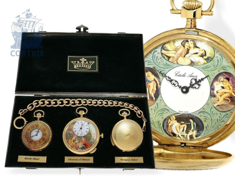 Pocket watch: limited special edition of 3 erotic pocket watches with original box, The Erotic Trio: 'Chanson d'Amour', 'Tempus Amor' and 'Circle Amor', Switzerland 20th century (NO LIVE FEE)