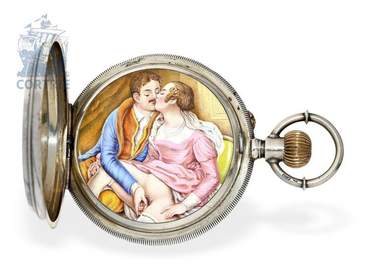 Pocket watch: big pocket watch for Chinese market with finest erotic enamel painting, Chs. Hormann & Cie., Neuchâtel ca. 1885 (NO LIVE FEE)