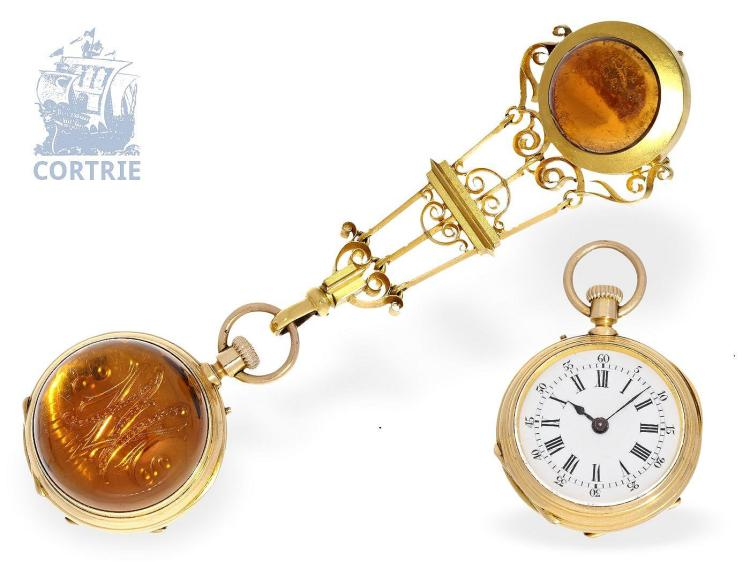 Pendant watch: unique 18K chatelaine watch with jewels, Geneve ca. 1880 (NO LIVE FEE)