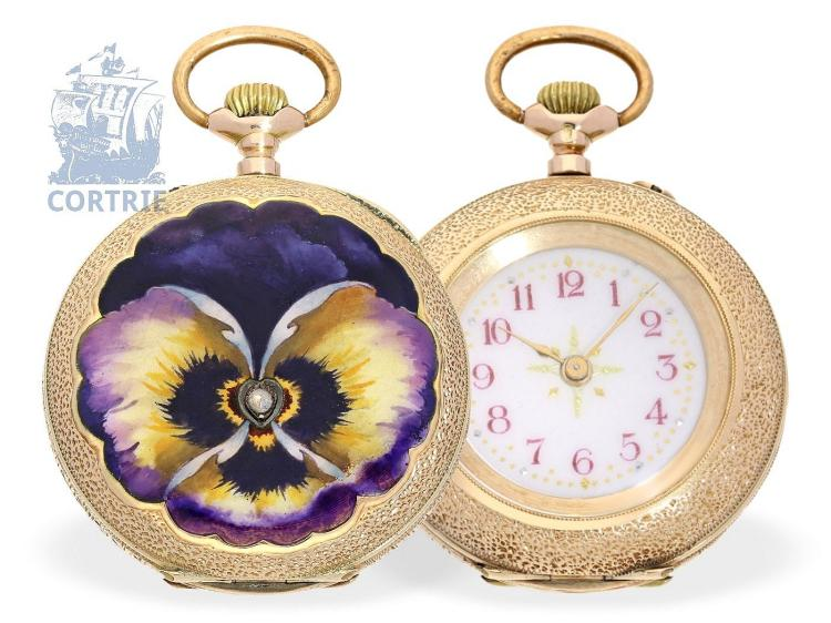 Pocket watch: Art Nouveau gold/enamel ladies watch, ca. 1900 (NO LIVE FEE)