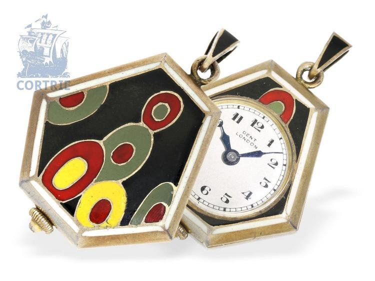 Pendant watch: Art Deco pendant watch with enameled case, signed Dent London (NO LIVE FEE)