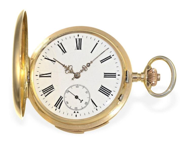 Pocket watch: high grade gold hunting case minute repeater, Longines for the American market, ca. 1890 (NO LIVE FEE)