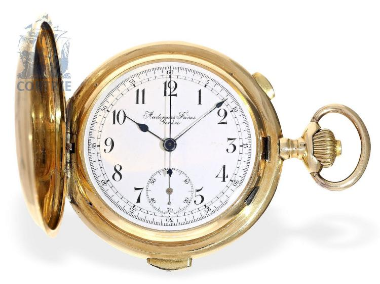 Pocket watch: Fine Swiss gold hunting case repeater with chronograph, gold watch chain, Audemars Freres Geneve, ca. 1900 (NO LIVE FEE)