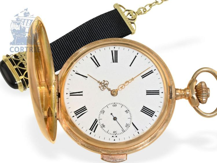 Pocket watch: gold hunting case watch repeater with chatelaine, Louis Rozat La Chaux-de-Fonds, ca. 1900 (NO LIVE FEE)