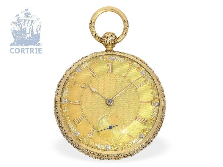 Pocket watch: heavy English champlevé pocket watch with Massey Type III escapement and stoppable seconds, Tobias Liverpool ca. 1825 (NO LIVE FEE)