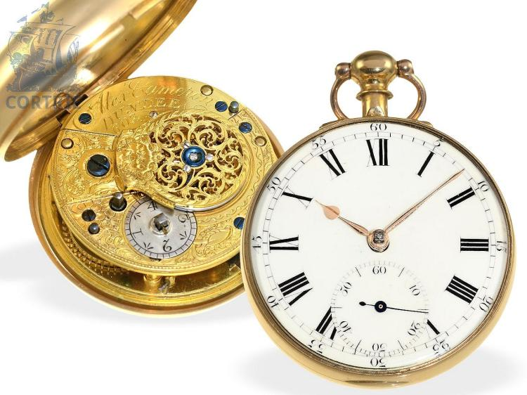 Pocket watch: early English18 K gold pocket watch, lever escapement, Alex Cameron Dundee no.603, hallmarks London 1818 (NO LIVE FEE)