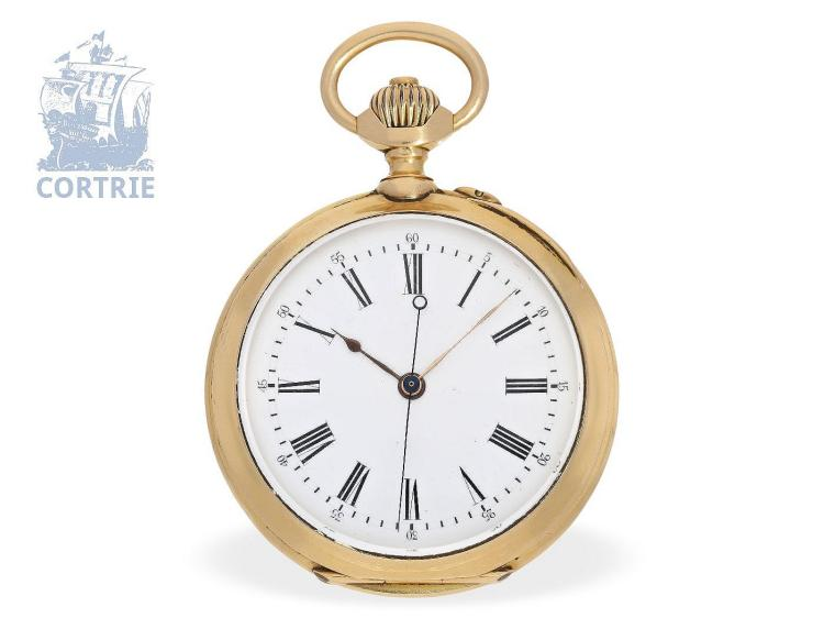 Pocket watch: heavy precision pocket watch with 'Seconde Morte', Switzerland ca. 1875, prime quality Ankerchronometer (NO LIVE FEE)