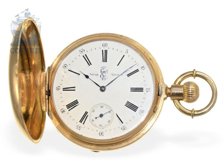 Pocket watch: very fine Geneva hunting case watch with detent escapement, Junod Freres ca. 1875, nobleman's possession (NO LIVE FEE)