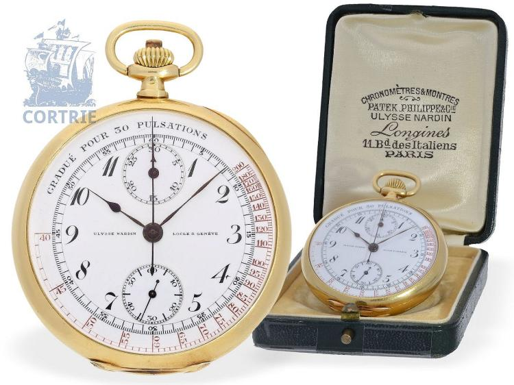 Pocket watch: rare and very fine doctor's chronograph Ulysse Nardin, with original box, Geneva ca. 1910 (NO LIVE FEE)