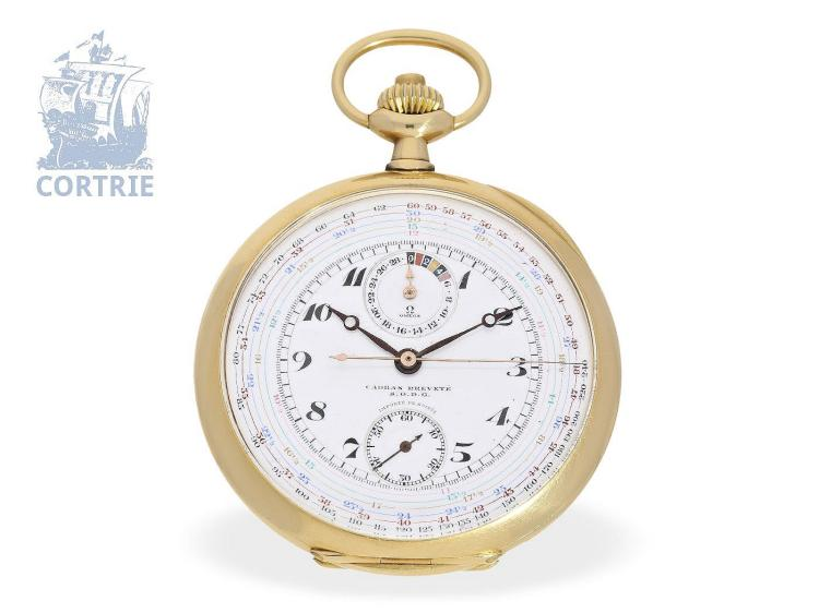 Pocket watch: extremely rare and big Omega chronograph Cadran Brevetè S.G.D.G, so-called 'CHRONO-TACHYMETER - MULTISCALE CHRONOGRAPH', 18 K gold rarity, ca. 1920 (NO LIVE FEE)