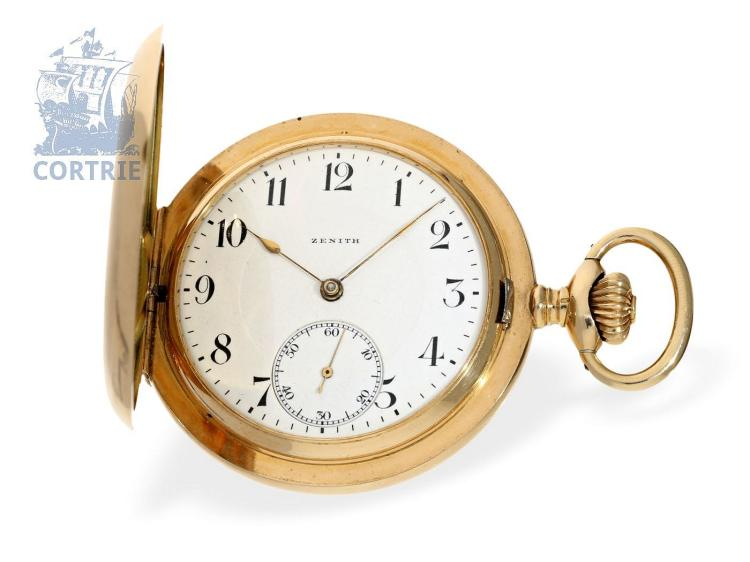 Pocket watch: very heavy gold hunting case watch, Zenith Chronometer, ca. 1910 (NO LIVE FEE)
