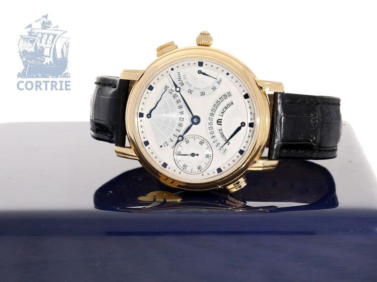 Wristwatch: very rare gentlemen's watch, Maurice Lacroix Masterpiece Double Retrograde, 18K pink gold, ref. 7018 (NO LIVE FEE)