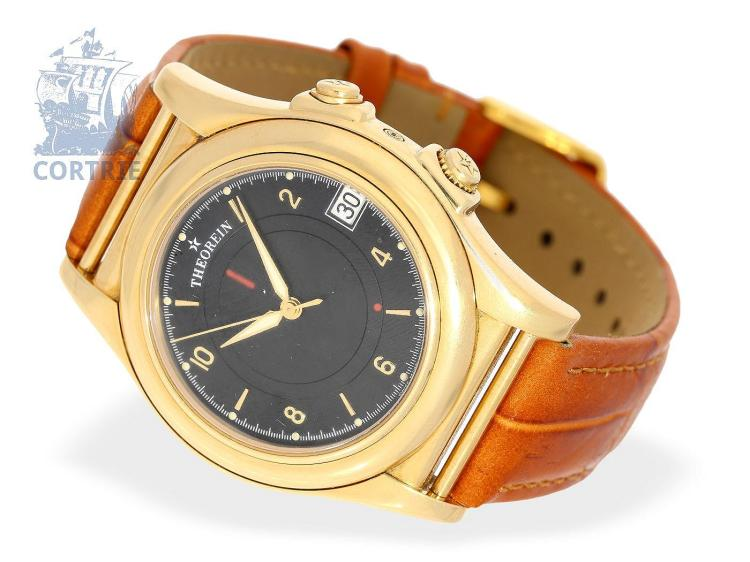Wristwatch: very rare vintage Theorein Geneve watch with alarm, unique automatic alarm movement Lemania 960 SL, 18K Gold (NO LIVE FEE)