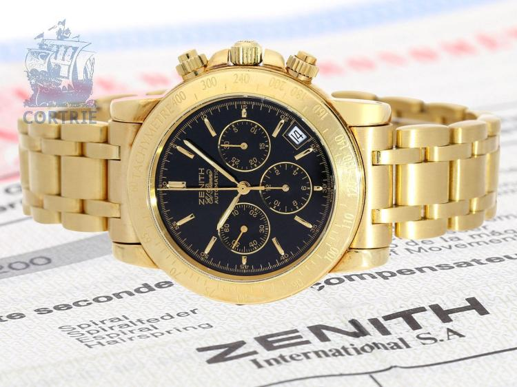 Wristwatch: Zenith rarity, limited vintage 18K gold chronograph El Primero Rainbow, chronometer certificates and original box, no.149/300 (NO LIVE FEE)