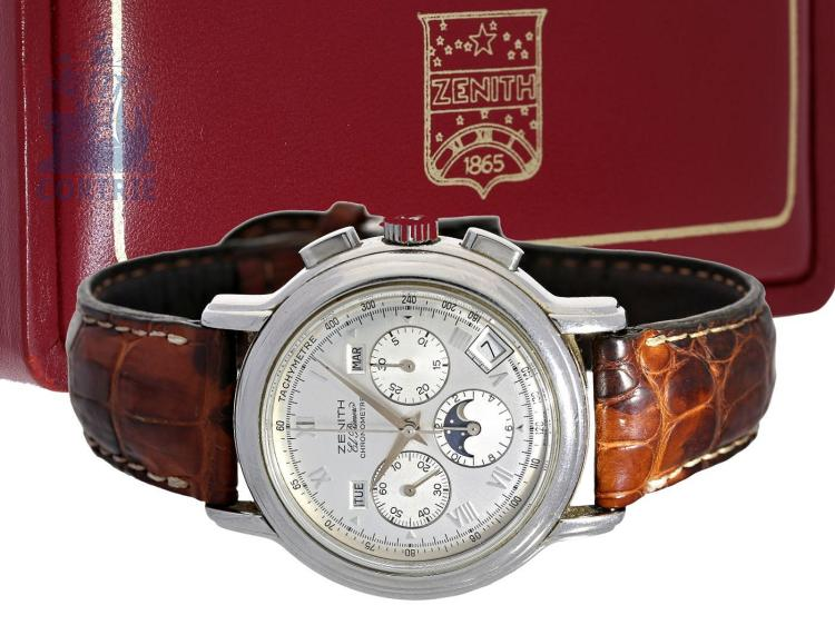 Wristwatch: Zenith El Primero chronograph, stainless steel, certified chronometer 'Chronomaster-Calendar' ref. 01.0240.410 with box and certificates (NO LIVE FEE)