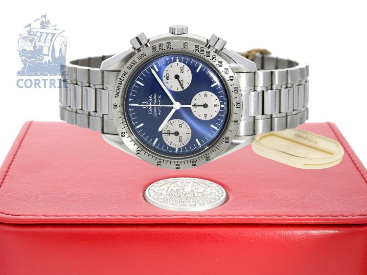 Wristwatch: sportive gentlemen's chronograph Omega Speedmaster, special edition with marine blue dial, original box, original label, ca. 2003 (NO LIVE FEE)