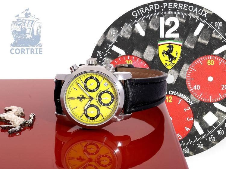Wristwatch: sportive gentlemen's chronograph Girard Perregaux F300 Ferrari Limited Edition, with certificates, original box and extra dial (NO LIVE FEE)