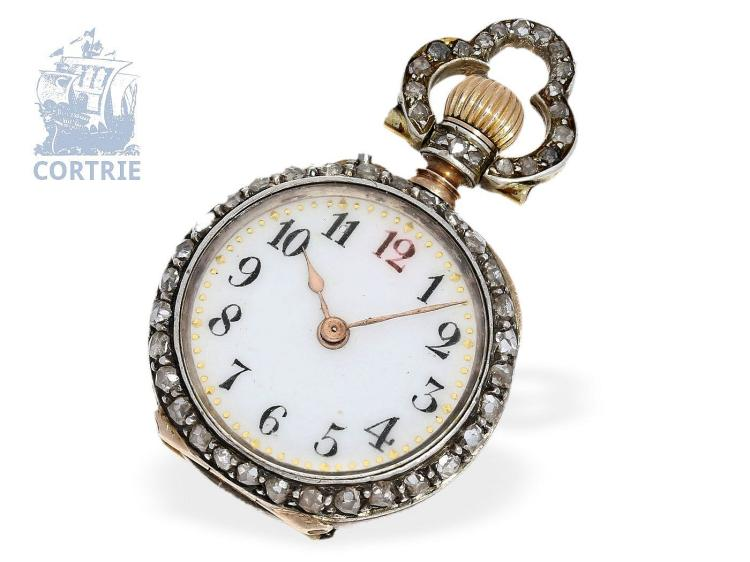 Pendant watch: very rare Art Nouveau miniature pendant watch with diamonds, Le Coultre für Rowland & Frazer, High Regent Street, London, ca. 1900 (NO LIVE FEE)