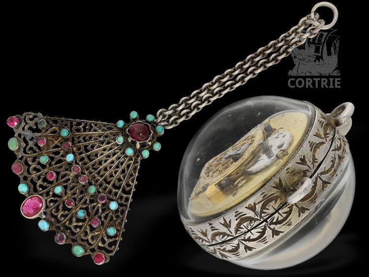 Form watch/pendant watch: rare and very decorative Vienna berg crystal form watch with original chatelaine, Jacob Schlatterer Vienna, ca. 1830 (NO LIVE FEE)