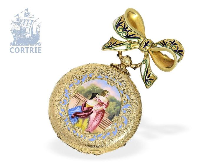 Pocket watch: very early Patek Philippe gold/enamel pocket watch/brooch watch no.14078, Geneva ca. 1859 (NO LIVE FEE)