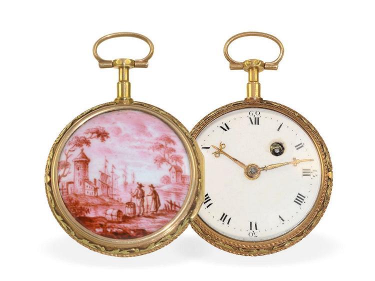Pocket watch: very decorative 20 K gold/enamel verge watch, fantastic condition, Le Roy Paris, ca. 1780 (NO LIVE FEE)
