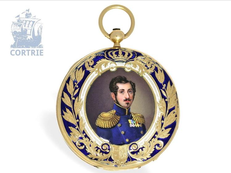 Pocket watch: very fine gold/enamel pocket watch, probably made for Oscar I, King of Sweden, signed Robin Paris, ca. 1845 (NO LIVE FEE)