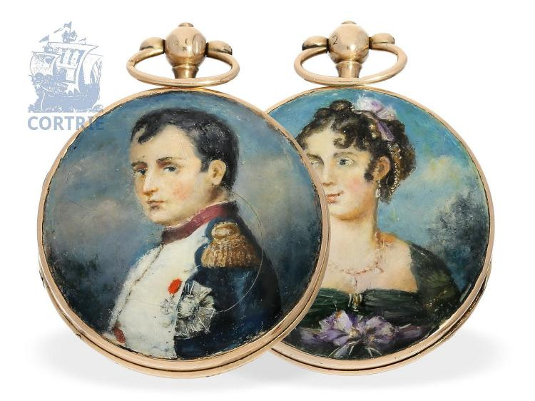 Pocket watch: very rare gold/enamel miniature hunting case watch with a portrait of Napoleon and his 1st wife Joséphine de Beauharnais, France ca. 1810 (NO LIVE FEE)