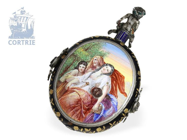 Pendant watch/table clock: very big neo-renaissance enamel watch with fantastic enamel painting, Geneva 19th-century (NO LIVE FEE)