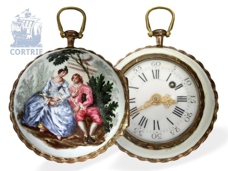 Pocket watch: fine enamel verge watch with Rococo scene, style attributed to Antoine Watteau, France 1760 (NO LIVE FEE)
