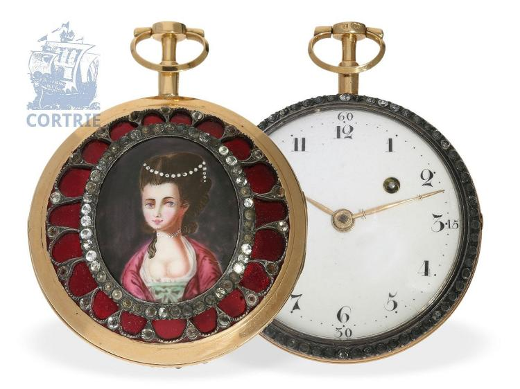 Pocket watch: very rare gold/enamel verge watch with finest enamel painting and jewels, signed Le Pine No.397, Paris ca. 1780 (NO LIVE FEE)