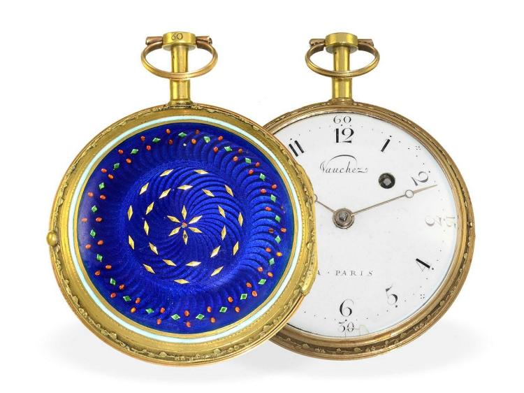 Pocket watch: splendid and big gold/enamel verge watch, ca. 1780, signed Vauchez a Paris (NO LIVE FEE)