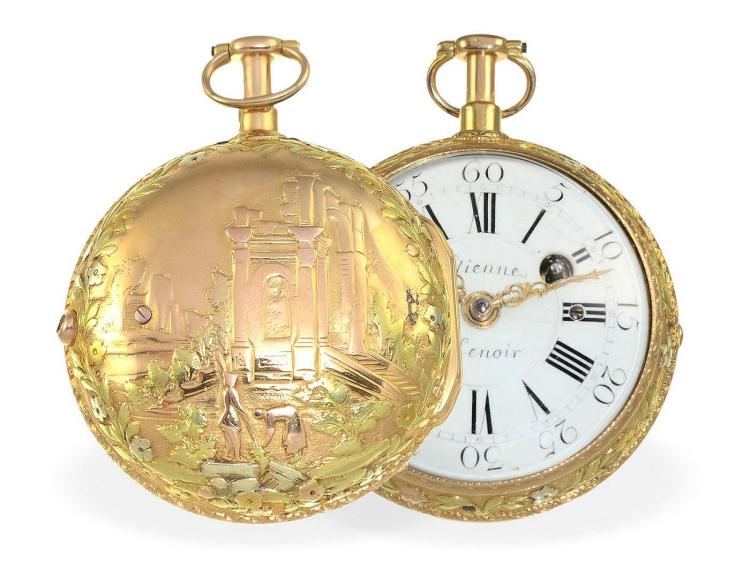 Pocket watch: very fine big and multicolored 20 K gold verge watch repeater, important Parisian master, Etienne Lenoir ca.1740-1760 (NO LIVE FEE)