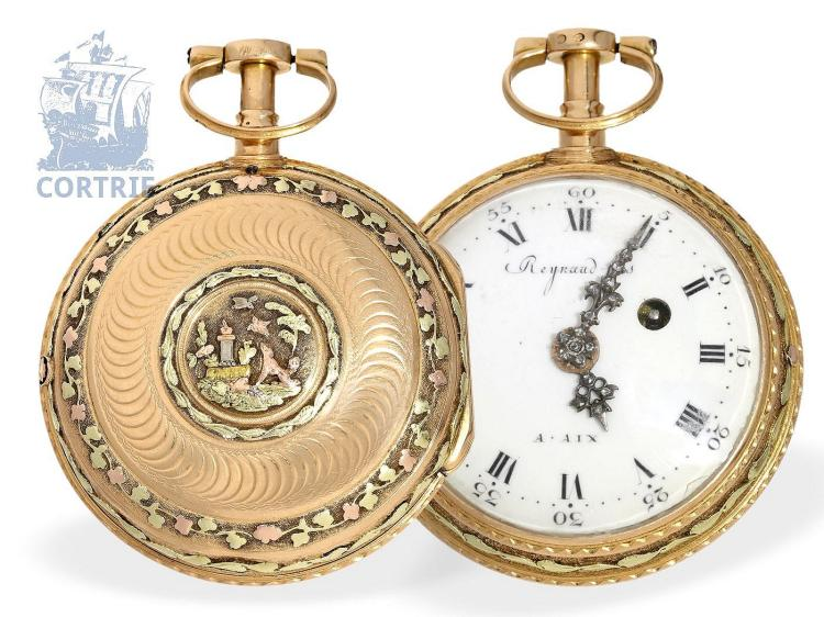 Pocket watch: splendid and multicolored gold verge watch repeater with bell, Reynand Fils, ca. 1780 (NO LIVE FEE)