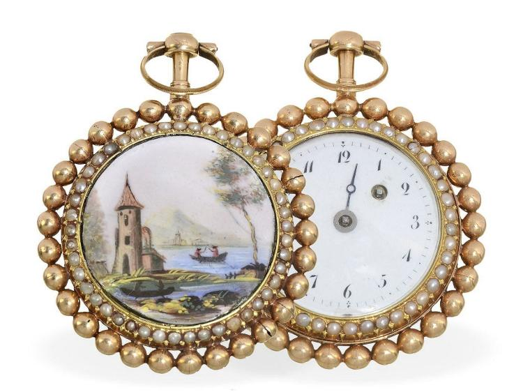 Pocket watch: extravagant gold/enamel verge watch with pearls on both sides, probably Geneva ca. 1790 (NO LIVE FEE)