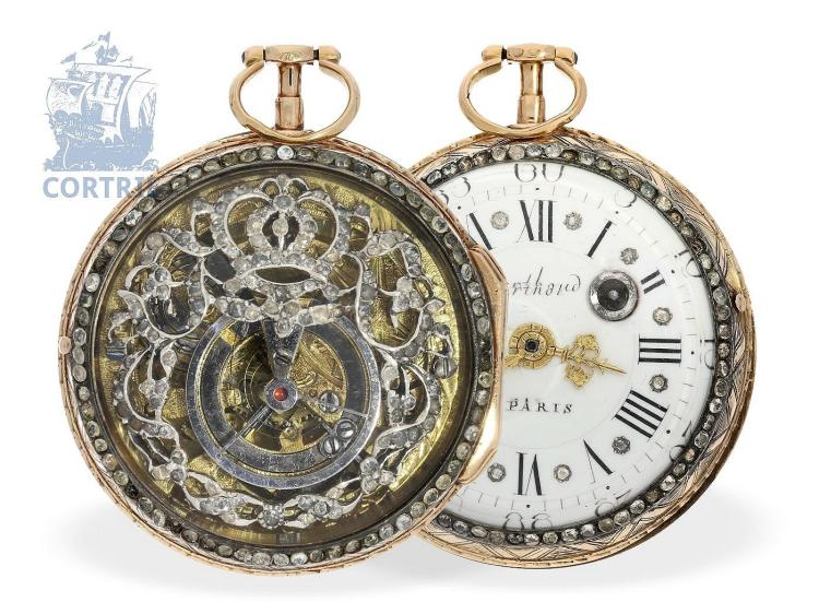 Pocket watch: very beautiful skeletonized verge watch, French royal house, signed Berthoud Paris, ca. 1770 (NO LIVE FEE)