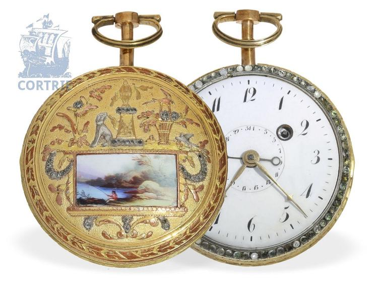Pocket watch: very fine and big French verge watch with enamel painting, jewels and date, signed Bosset a Paris (NO LIVE FEE)