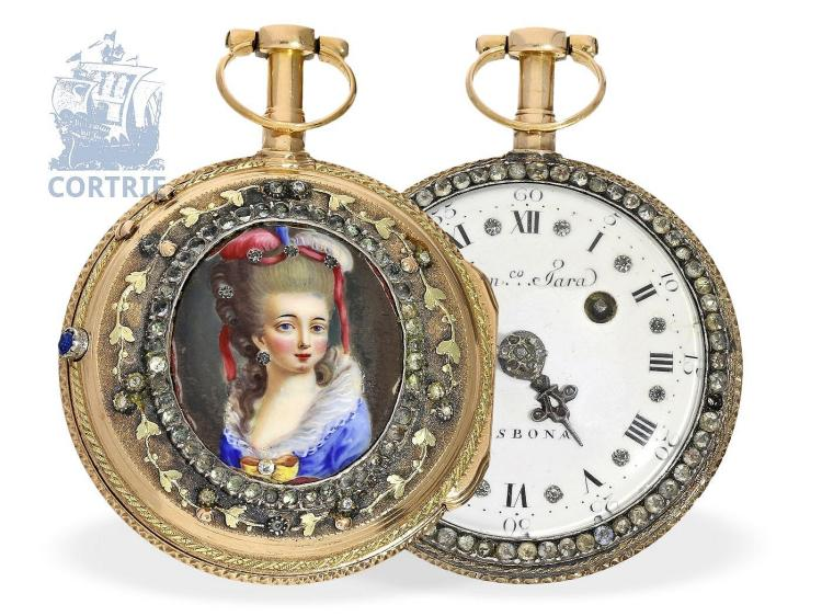 Pocket watch: rarity, Portuguese gold/enamel verge watch with jewels, very fine quality, Dominico Tara Lisbona, ca. 1770 (NO LIVE FEE)