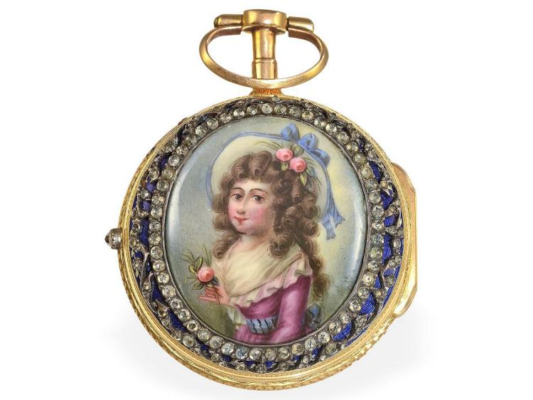 Pocket watch: very fine Geneva Gold/enamel paircase verge watch, rare condition, Jean Robert Soret Geneve 1740-1780 (NO LIVE FEE)