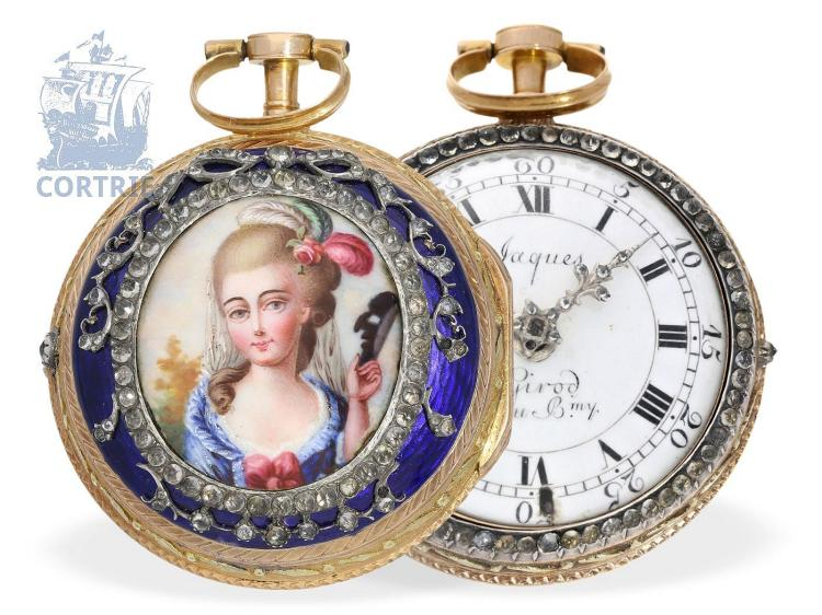 Pocket watch: very fine Geneva paircase gold/enamel verge watch, finest quality, Jaques Girod & Jaques Barthèlemy Vacheron ca. 1785 (NO LIVE FEE)