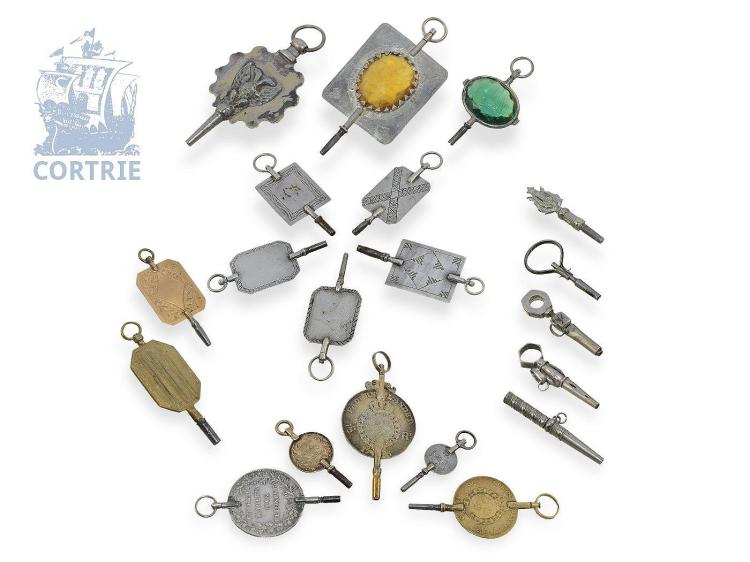 Verge watch keys: collection of 20 watch keys, some early pieces, silver and gold (NO LIVE FEE)