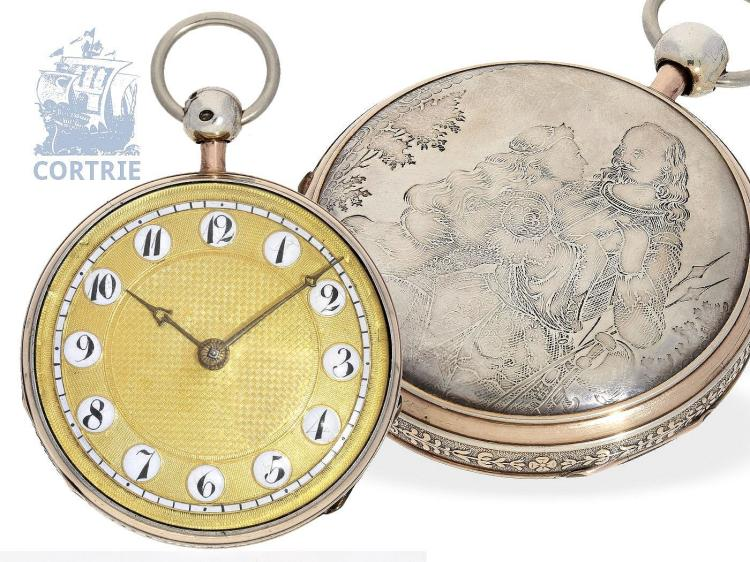 Pocket watch: very beautiful and big pocket watch repeater with fine engraving, David Morice London, no.8962, ca. 1820 (NO LIVE FEE)