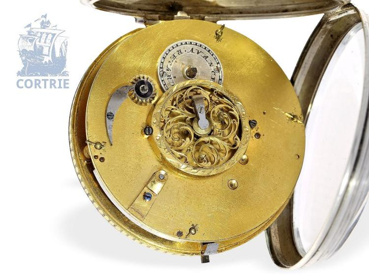 Pocket watch: exquisite and big verge watch with decentralized dial, fine enamel painting 'en grisaille' and date, France ca. 1790 (NO LIVE FEE)