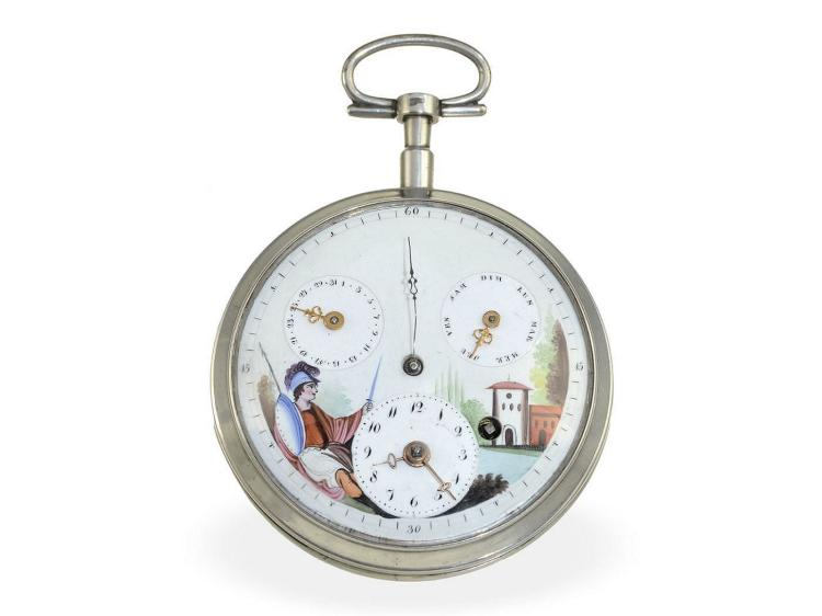 Pocket watch: very rare, early and big calendar watch with enamel painting and center seconds, Willeumier Paris ca. 1795 (NO LIVE FEE)
