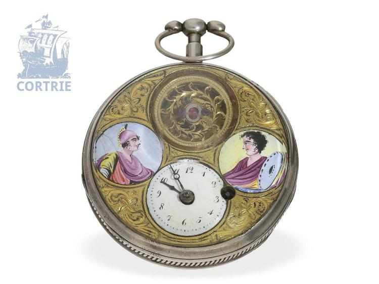 Pocket watch: very rare double face verge watch with 2nd time zone, enamel cartouches and visible balance, attributed to Girardier, ca. 1780 (NO LIVE FEE)