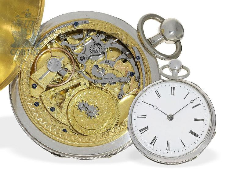 Pocket watch: very rare repeater with skeletonized striking train and virgule escapement, probably Geneva ca. 1820 (NO LIVE FEE)
